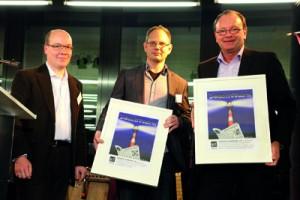 Leuchtturm 2012 (von links): Markus Grill (Zweiter Vorsitzender netzwerk recherche), René Wappler (Spremberger Rundschau), Wolfgang Kaes (Bonner General-Anzeiger). Foto: Franziska Senkel.
