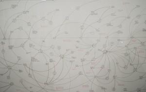 Ein Soziogramm von Mark Lombardi auf der dOCUMENTA 13 in Kassel. (Quelle: Flickr / Hans Oloffson)