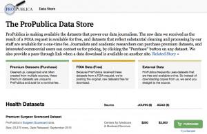 Der ProPublica Data Store bietet kostenlose und kostenpflichte Daten zum Download an und verlinkt Daten externer Quellen.