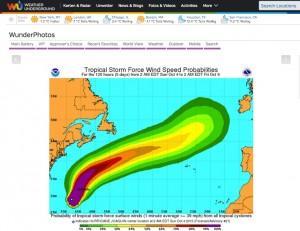 """Die Wetterseite """"Weather Underground"""" markiert den voraussichtlichen Verlauf von Stürmen als Korridor. Screenshot: wunderground.com"""