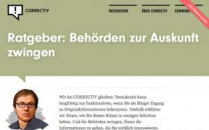 Das Correctiv-Team will den Behörden mehr Daten entlocken. Dazu hat das Recherchebüro einen Guide für Journalisten veröffentlicht. Bild: Screenshot Correctiv.de