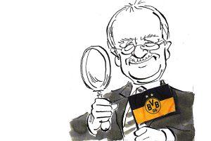 Unser Ehren-Leuchtturmpreisträger Hans Leyendecker. Gezeichnet von Dieter Hanitzsch