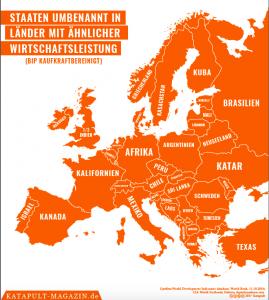 Grafik, in der europäische Staaten in Länder oder Regionen mit ähnlicher Wirtschaftsleistung umbenennt werden