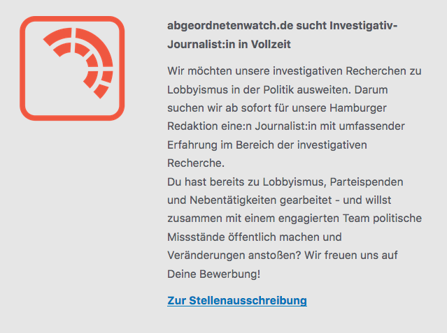 abgeordnetenwatch.de sucht Investigativ-Journalist:in in Vollzeit – http://nrch.de/abgeorneten0819