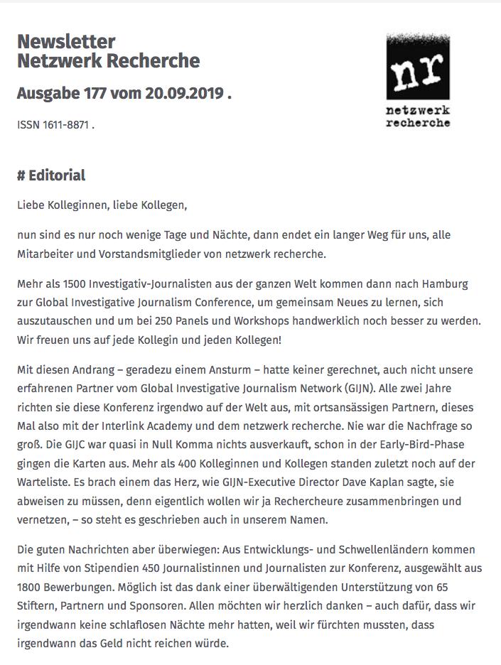 Newsletter Netzwerk Recherche, Nr. 177, 20.09.2019 - netzwerk recherche