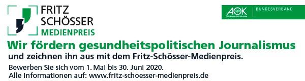 Der AOK Bundesverband fördert gesundheitspolitischen Journalismus und zeichnet ihn mit dem Fritz-Schösser-Medienpreis aus. Bewerben Sie sich bis zum 30. Juni 2020. Informationen auf: https://www.aok-bv.de/engagement/medienpreis/
