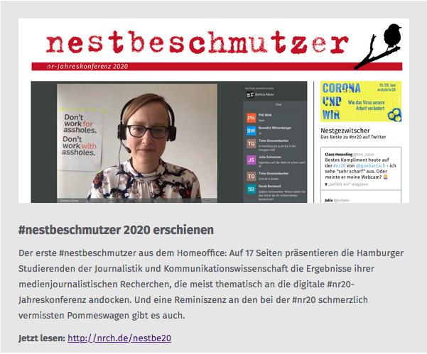 Der erste #nestbeschmutzer aus dem Homeoffice: Auf 17 Seiten präsentieren die Hamburger Studierenden der Journalistik und Kommunikationswissenschaft die Ergebnisse ihrer medienjournalistischen Recherchen, die meist thematisch an die digitale #nr20-Jahreskonferenz andocken. Und eine Reminiszenz an den bei der #nr20 schmerzlich vermissten Pommeswagen gibt es auch. Jetzt lesen: http://nrch.de/nestbe20