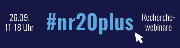 nr20plus – Fortsetzung der nr20-Webinare am 26. September . Anmeldung und Informationen unter nrch.de/nr20plus